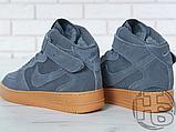 Чоловічі кросівки Nike Air Force 1 High Gray Gum (з хутром) 749263-001, фото 2