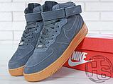 Чоловічі кросівки Nike Air Force 1 High Gray Gum (з хутром) 749263-001, фото 7