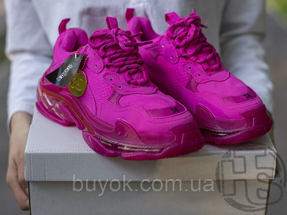 Жіночі кросівки Balenciaga Triple S Clear Sole Dark Pink 544351W2FG15059
