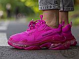 Жіночі кросівки Balenciaga Triple S Clear Sole Dark Pink 544351W2FG15059, фото 4