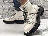 Женские ботинки Alexander McQueen Tread Lace Up Ankle Boot White 595469WHQSG9089 (с мехом), фото 2