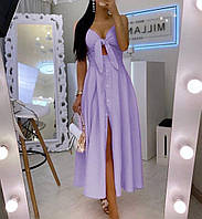Женский стильный сарафан на пуговицах с бретелями, фото 1