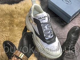 Женские кроссовки Prada Pegasus Sneakers White Grey Black