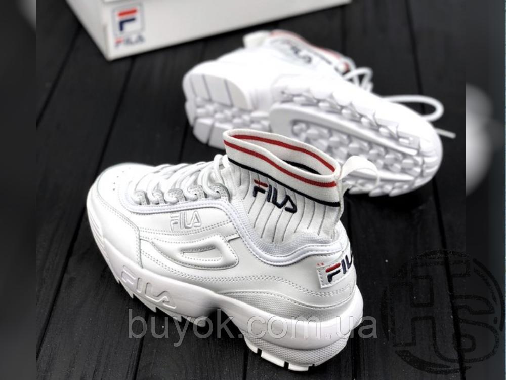 Женские кроссовки Fila Disruptor 2 II Evo Sockfit White FS1HTA1502X