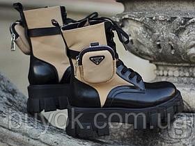 Женские ботинки Prada Monolith Brushed Rois Leather Boots Beige 2T255M