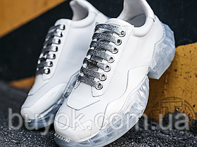 Женские кроссовки Jimmy Choo Diamond/F White Calf Leather with Patent Low Top Trainers
