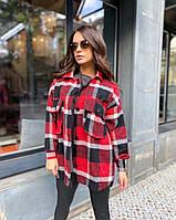 Женская стильная теплая рубашка на пуговицах, фото 1