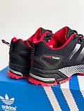 Кросівки чорні з червоним сітка в стилі Adidas Marathon, фото 3