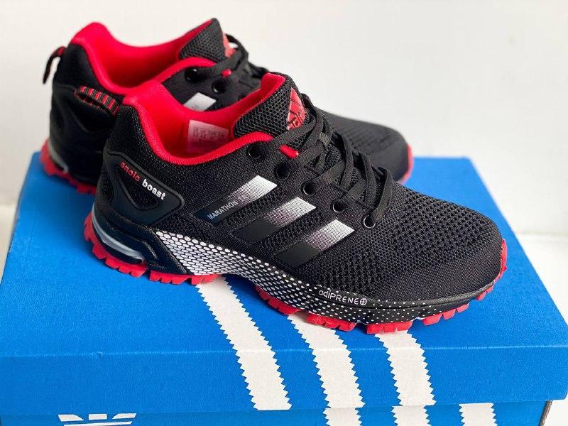 Кросівки чорні з червоним сітка в стилі Adidas Marathon