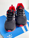 Кросівки чорні з червоним сітка в стилі Adidas Marathon, фото 2