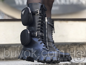 Женские ботинки Prada Monolith Brushed Rois Leather Nylon High Boots 1W257M