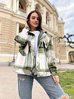 Женское стильное пальто-рубашка в клетку, фото 1