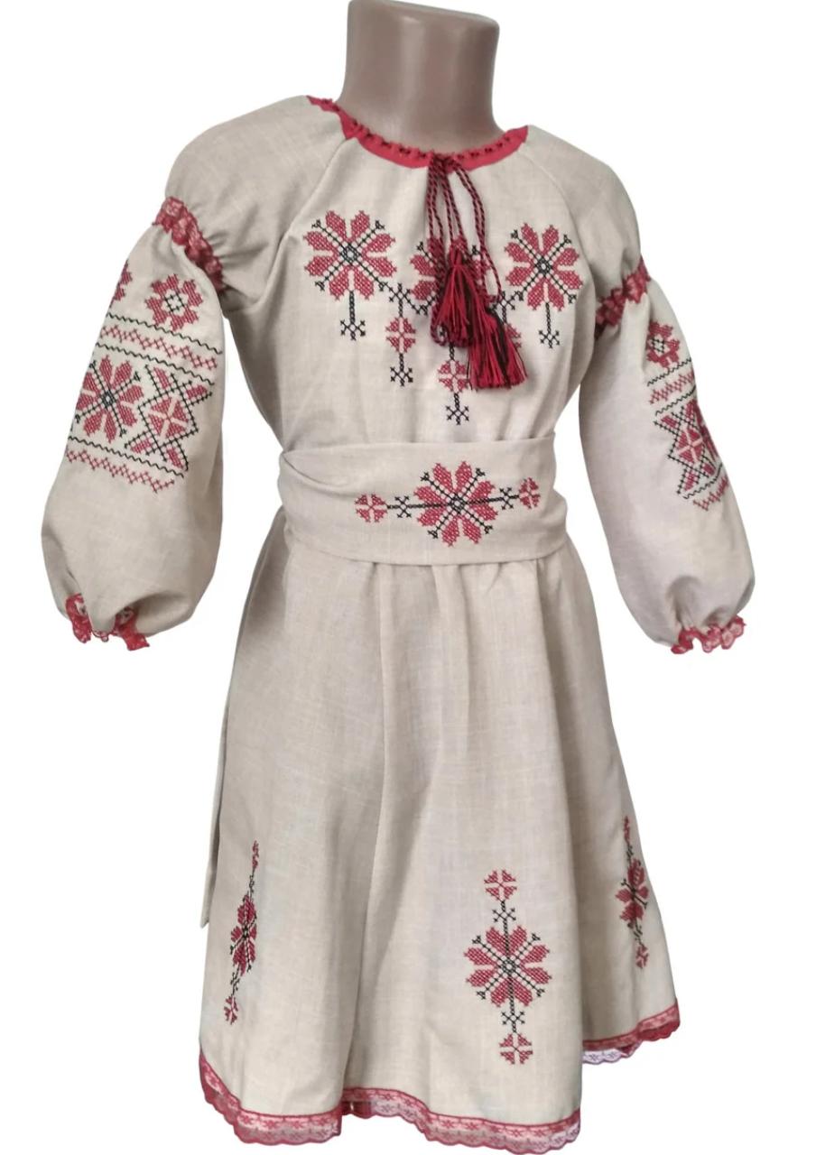 Платье Вышиванка лен для девочки р. 98 - 128