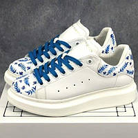 Женские кроссовки Alexander McQueen White Blue Leaf   Кеды Александр  МакКуин Белые с синим