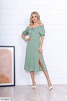 Платье стильное за колено миди с открытыми плечами и разрезом на ноге р-ры 42-48 арт.3003