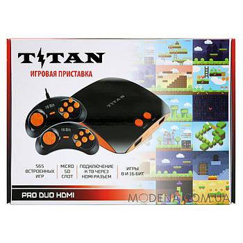 Игровая приставка Titan Pro Duo HDMI+AV    565 встроенных игр Dendy + Sega   поддержка карт памяти SD