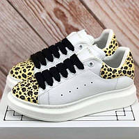 Женские кроссовки Alexander McQueen White Leopard   Кеды Александр  МакКуин Белые леопард