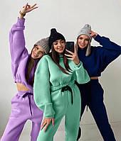 Женский стильный спортивный костюм с укороченной кофтой, фото 1