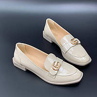 Бежевые туфли на небольшом каблуке, фото 1