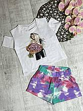 Стильный комплект топ и шорты для девочки р. 128-152