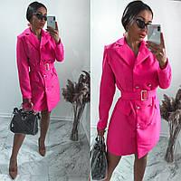 Женское стильное короткое платье пиджак под пояс, фото 1