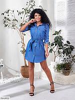 Короткое джинсовое женское платье-рубашка прямое под пояс рукав трансформер размеры 42-48 арт.   258