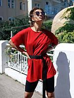 Женский стильный костюм футболка и велосипедки с поясом, фото 1