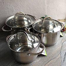 Набор кастрюль из нержавеющей стали 6 пр со шкалой (1.8л, 2.3л, 3.3л) Kamille, фото 2