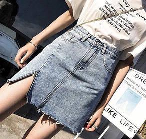 Жіноча синя джинсова спідниця