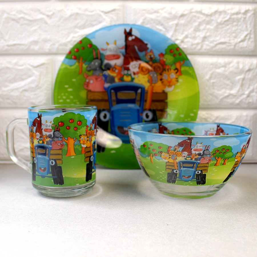 Набор детской стеклянной посуды 3 предмета с мульт-героями Синий трактор, Набор детской посуды, разноцветный