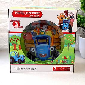 Набор детской стеклянной посуды 3 предмета с мульт-героями Синий трактор, Набор детской посуды, разноцветный, фото 2