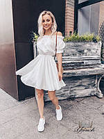 Женское стильное приталенное платье с открытыми плечами, фото 1