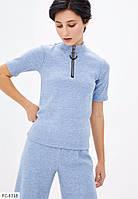 Жіночий модний стильний гольф з коротким рукавом з блискавкою на шиї арт 2282