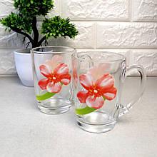 Большая стеклянная чайная кружка с цветами 320 мл Luminarc Sweet Impression (n1501)