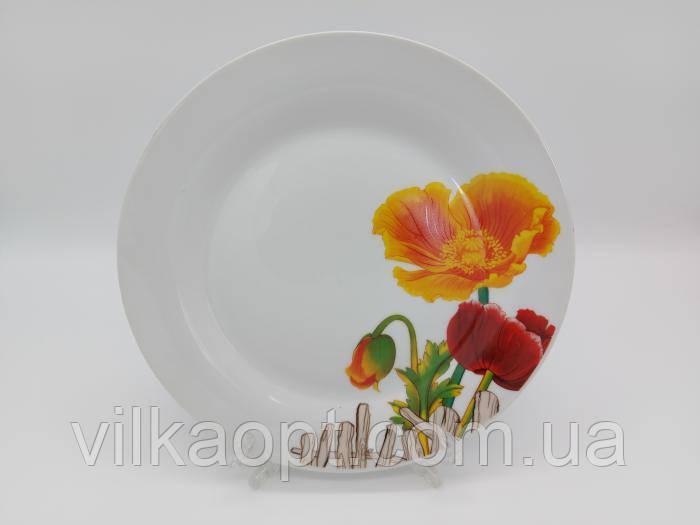 Блюдо керамическое белое с рисунком круглое большое Тарелка обеденная мелкая для вторых блюд Маки D 27 cm