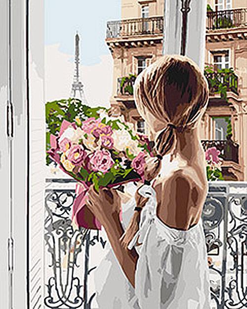 """Картина по номерам. Люди """"Из Парижа с любовью"""" KHO4567, 40х50 см Картина по номерам. Люди """"Из Парижа с"""