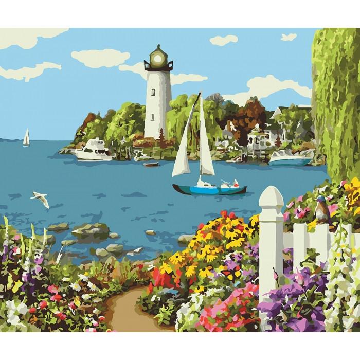 """Картина по номерам. Сельский пейзаж """"Райский уголок"""" KHO2226, 40х50 см Картина по номерам. Сельский пейзаж"""