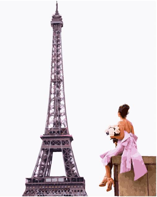 """Картина по номерам. Brushme """"Она в ожидании Парижа"""" GX25457, 40х50 см Картина по номерам. Brushme """"Она в"""