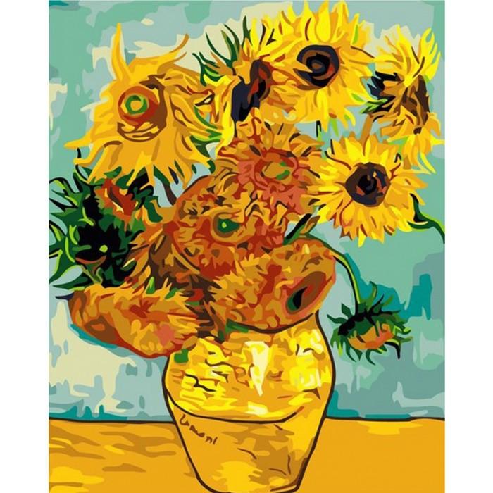 """Картина по номерам. Букеты """"Подсолнухи Ван Гог"""" KHO098, 40х50 см Картина по номерам. Букеты """"Подсолнухи Ван"""