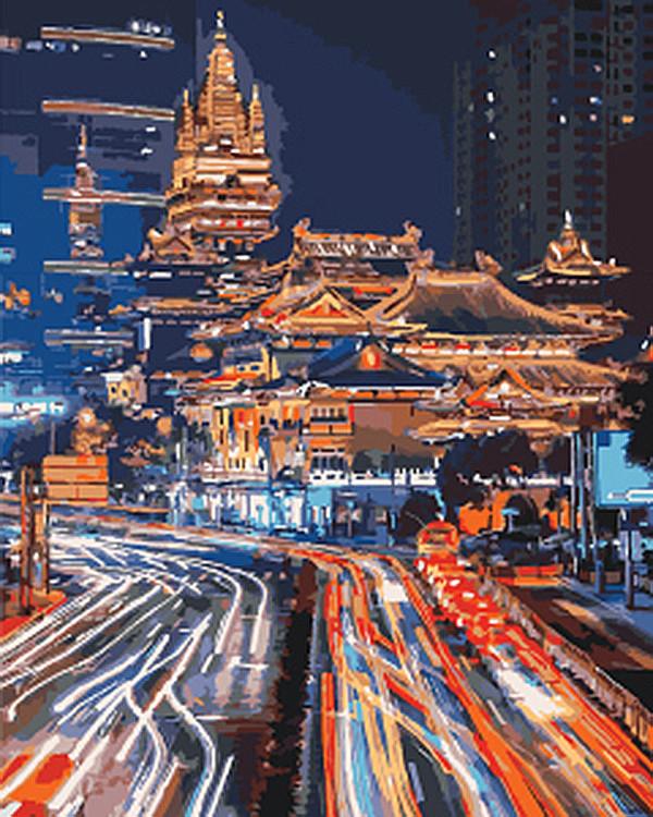 """Картина по номерам. Городской пейзаж """"Ночной Шанхай 2"""" KHO3543, 40х50 см Картина по номерам. Городской пейзаж"""
