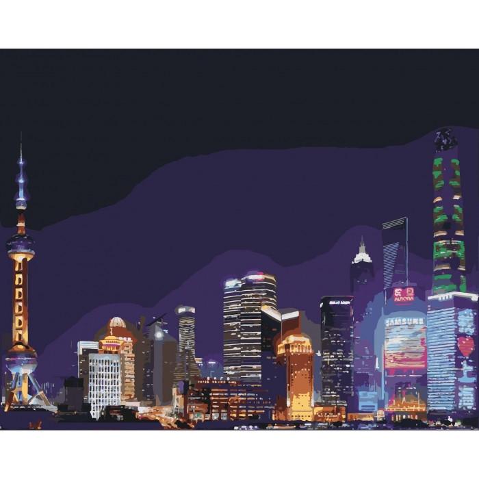 """Картина по номерам. Городской пейзаж """"Ночной Шанхай"""" KHO3507, 40*50 см Городской пейзаж """"Ночной Шанхай"""""""