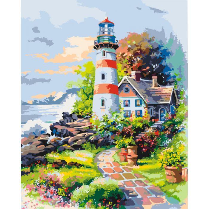 """Картина по номерам. Морской пейзаж """"Приют мечтаний"""" KHO2719, 40*50 см"""