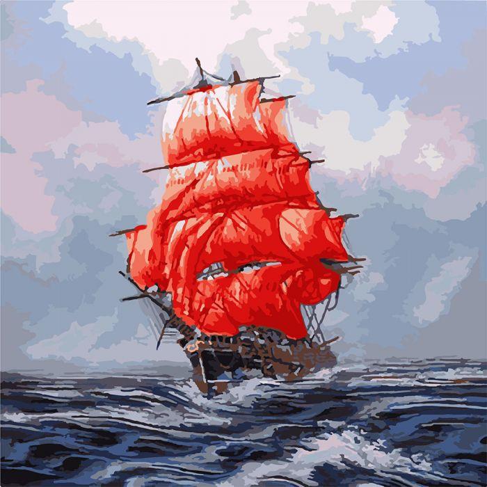"Картина по номерам. Морской пейзаж ""Алые паруса"" KHO2709, 40*50 см"