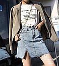 Cветлая джинсовая юбка c высокой посадкой, фото 2