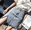 Cветлая джинсовая юбка c высокой посадкой, фото 3