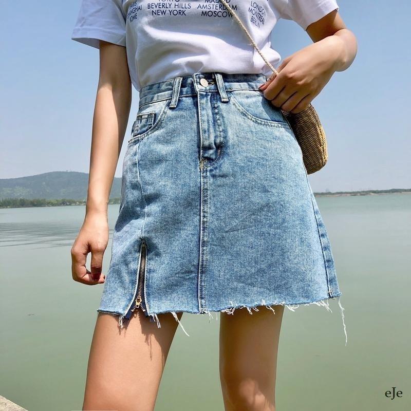 Cветлая джинсовая юбка c высокой посадкой