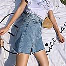 Cветлая джинсовая юбка c высокой посадкой, фото 5
