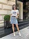 Cветлая джинсовая юбка c высокой посадкой, фото 8