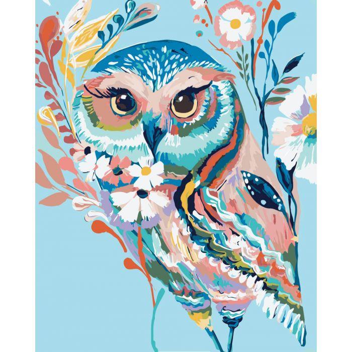 """Картина по номерам. Животные, птицы """"Сова 2"""" KHO2471, 40*50 см"""