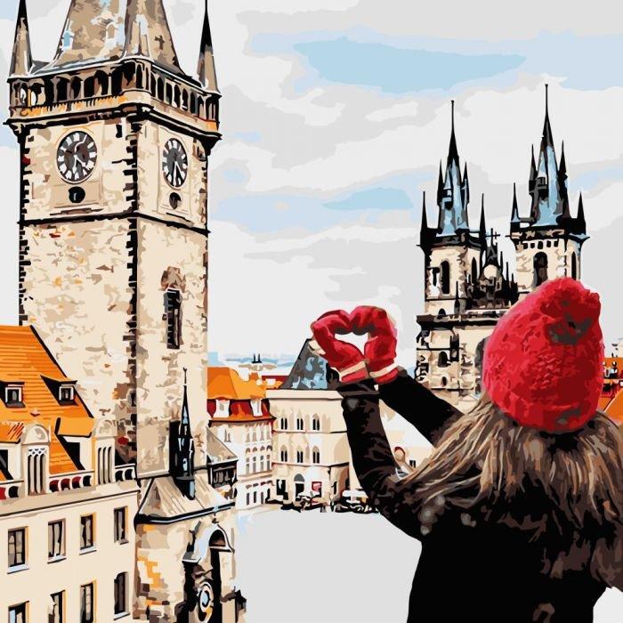 """Картина по номерам. Городской пейзаж """"С любовью в сердце """" KHO3523, 40*40 см"""